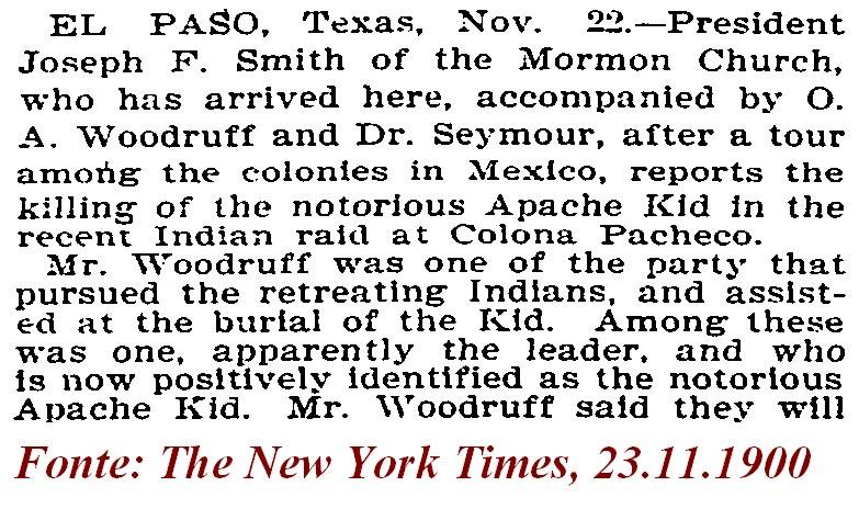 The New York Times, stralcio del 23 novembre 1900