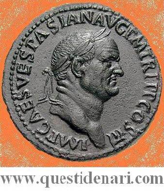 Tito Flavio Vespasiano - Dritto di un sesterzio emesso a Pavia (71 D.C.)